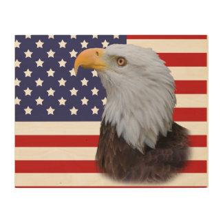 Eagle patriótico y bandera de los E.E.U.U. Cuadro De Madera