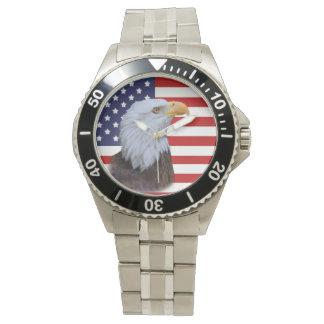 Eagle patriótico y bandera de los E.E.U.U. Relojes De Pulsera