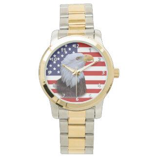 Eagle patriótico y bandera de los E.E.U.U. Reloj De Mano