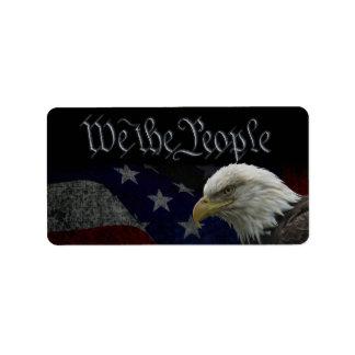 Eagle patriótico y bandera etiquetas de dirección