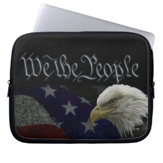 Eagle patriótico y bandera mangas computadora