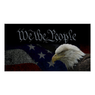 Eagle patriótico y bandera poster