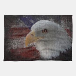 Eagle patriótico y bandera toalla