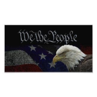 Eagle patriótico y bandera foto