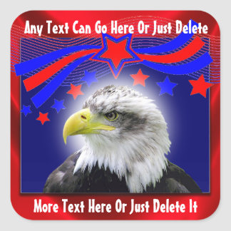 Eagle patriótico y pegatinas de las estrellas calcomanias cuadradas