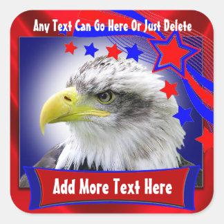 Eagle patriótico y pegatinas de las estrellas pegatina cuadradas