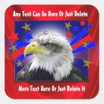Eagle patriótico y pegatinas de las estrellas del pegatinas cuadradases