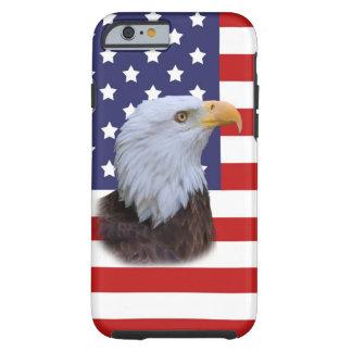Eagle patriótico y personalizable de la bandera de funda para iPhone 6 tough