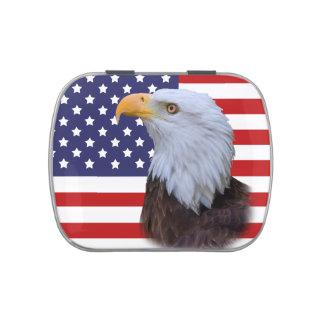 Eagle patriótico y personalizable de la bandera de jarrones de dulces