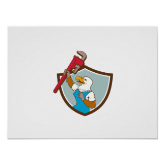 Eagle Plumber Raising Up Pipe Wrench Crest Cartoon Poster