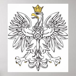Eagle polaco con la corona del oro posters