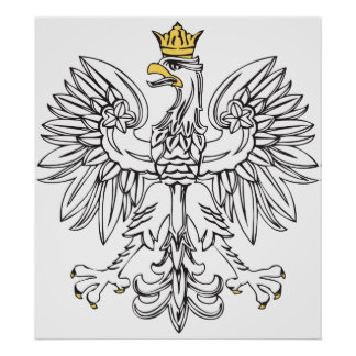 Eagle polaco con la corona del oro póster