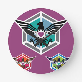 Eagle polygon Logo vector Round Clock