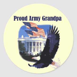 Eagle Proud Army Grandpa Tshirts and Gifts Round Sticker