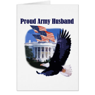 Eagle Proud Army Husband Tshirts and Gifts Greeting Cards