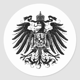 Eagle prusiano negro etiqueta redonda