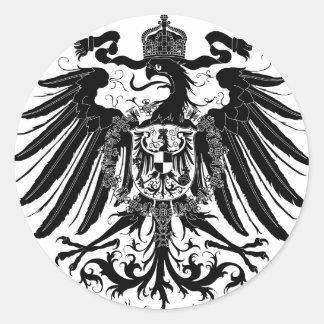 Eagle prusiano negro pegatina redonda