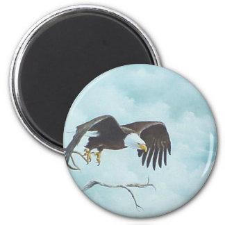 Eagle que se eleva en la pintura del cielo iman de nevera