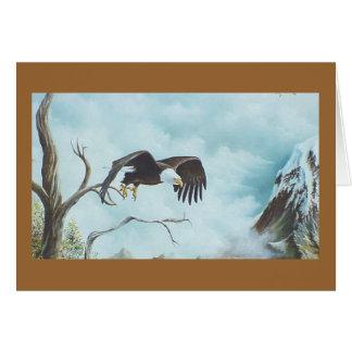 Eagle que se eleva en la pintura del cielo tarjeta de felicitación