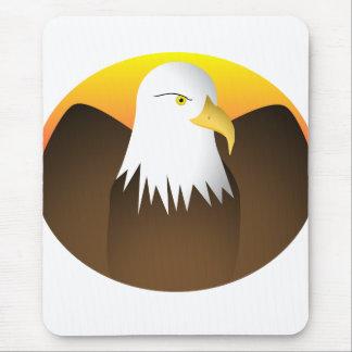 Eagle que separa puesta del sol de las alas tapete de ratones