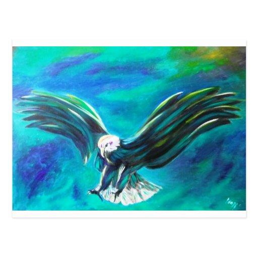 Eagle que viene adentro aterrizar en fondo azul tarjeta postal