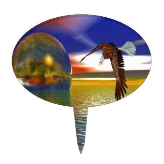Eagle que vuela sobre el agua con la esfera, decoración para tarta