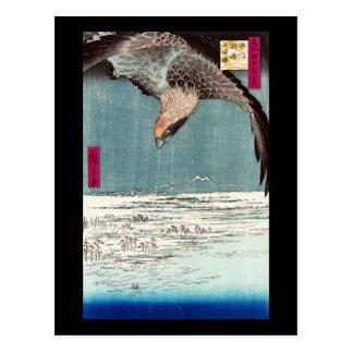 Eagle que vuela sobre el distrito de Fukagama, Hir Tarjeta Postal