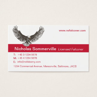 Eagle red & white falconry personal business card