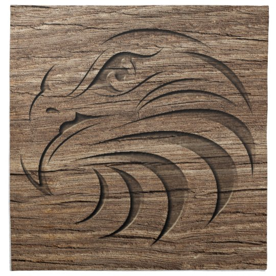 Eagle relief carving on exotic hardwood cloth napkin