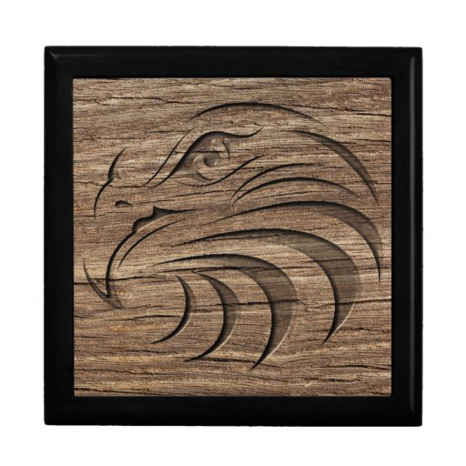 Eagle relief carving on exotic hardwood gift box zazzle