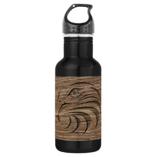 Eagle Relief Carving On Exotic Hardwood 18oz Water Bottle