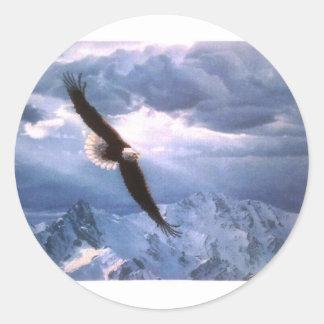 Eagle resiste a la tormenta pegatina redonda