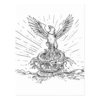 Eagle Rising Like Phoenix and Dragon Tattoo Postcard