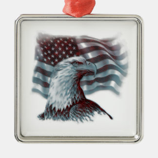 Eagle rojo - patriótico adorno cuadrado plateado
