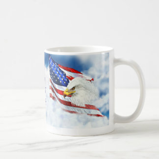 Eagle Scouting the Sky as American Flag Waves Coffee Mug