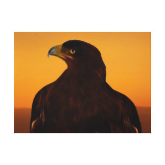 Eagle silhouette at sunset canvas print