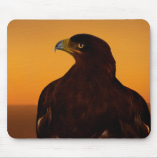 Eagle silhouette at sunset mouse pad