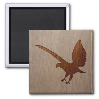 Eagle silhouette engraved on wood effect 2 inch square magnet