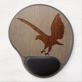 Eagle silhouette engraved on wood effect gel mouse pad