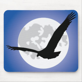 Eagle silhouette over moon mouse pad