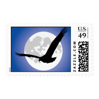Eagle silhouette over moon - Postage
