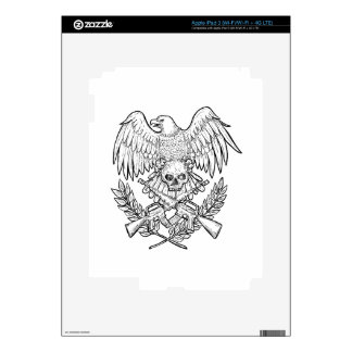 Eagle Skull Assault Rifle Drawing iPad 3 Decal