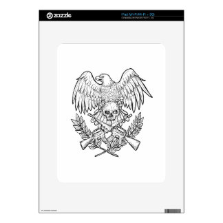 Eagle Skull Assault Rifle Drawing iPad Decal
