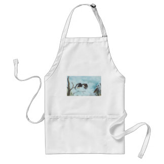 Eagle soaring in sky painting apron