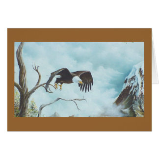 Eagle soaring in sky painting card