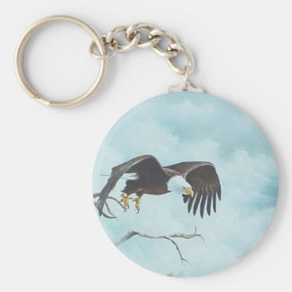 Eagle soaring in sky painting keychain