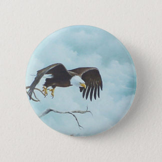 Eagle soaring in sky painting pinback button