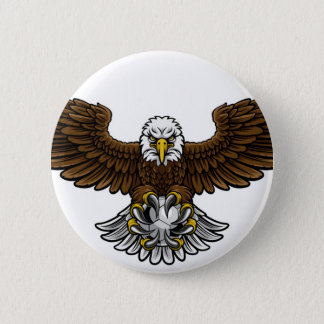 Eagle Soccer Football Mascot Pinback Button