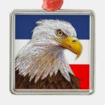 Eagle Square Metal Christmas Ornament