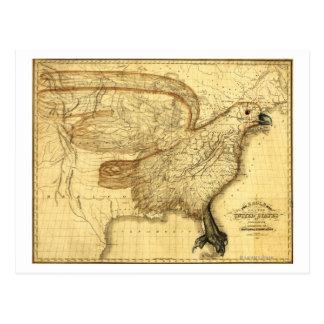 Eagle Superimposed on the United States Post Card